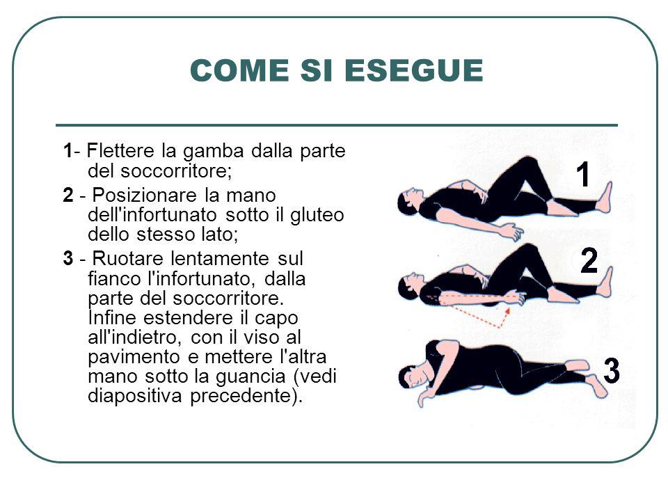 COME SI ESEGUE 1- Flettere la gamba dalla parte del soccorritore; 2 - Posizionare la mano dell'infortunato sotto il gluteo dello stesso lato; 3 - Ruot