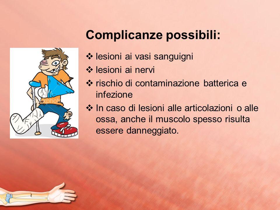 Complicanze possibili: lesioni ai vasi sanguigni lesioni ai nervi rischio di contaminazione batterica e infezione In caso di lesioni alle articolazion