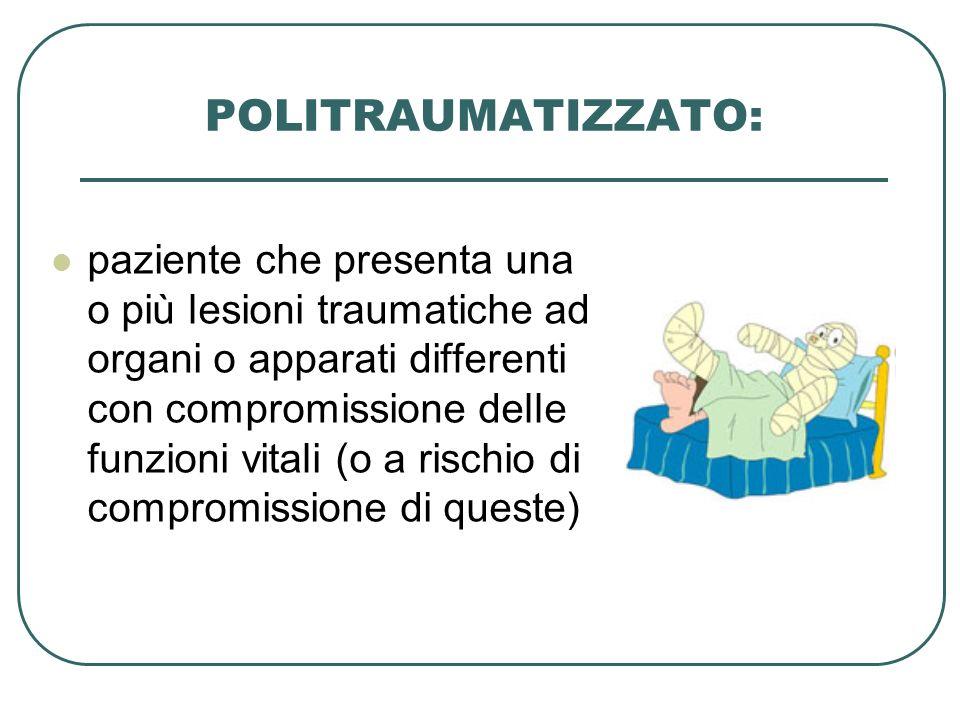 POLITRAUMATIZZATO: paziente che presenta una o più lesioni traumatiche ad organi o apparati differenti con compromissione delle funzioni vitali (o a r
