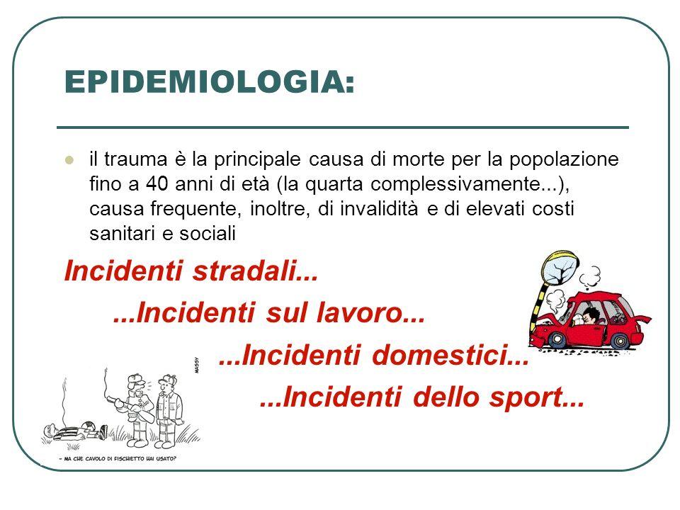 EPIDEMIOLOGIA: il trauma è la principale causa di morte per la popolazione fino a 40 anni di età (la quarta complessivamente...), causa frequente, ino