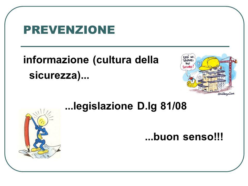 PREVENZIONE informazione (cultura della sicurezza)......legislazione D.lg 81/08...buon senso!!!