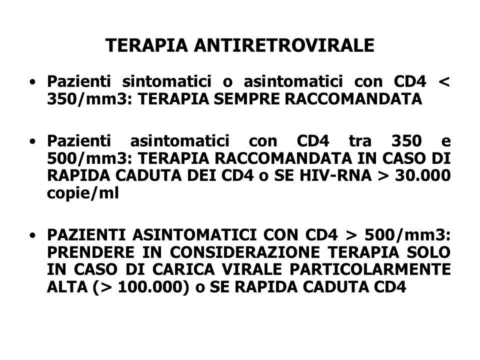 TERAPIA ANTIRETROVIRALE Pazienti sintomatici o asintomatici con CD4 < 350/mm3: TERAPIA SEMPRE RACCOMANDATA Pazienti asintomatici con CD4 tra 350 e 500