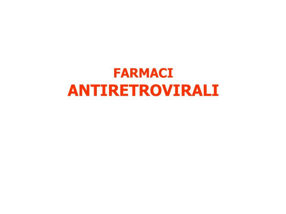 INIBITORI DELLA TRASCRITTASI INVERSA: Bloccano la sintesi del DNA inibendo la trascrittasi inversa NRTI: ANALOGHI NUCLEOSIDICI o INIBITORI NUCLEOSIDICI DELLA TRASCRITTASI INVERSA Abacavir (ABC), Zidovudina (AZT), Zalcitabina (ddC), Didanosina (ddI), Stavudina (d4T), Lamivudina (3TC), Tenofovir (TDF) NNRTI: INIBITORI NON NUCLEOSIDICI DELLA TRASCRITTASI INVERSA Nevirapina (NVP), Efavirenz (EFZ), Delavirdina (DLV)