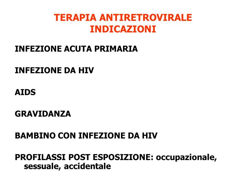 TERAPIA ANTIRETROVIRALE INDICAZIONI INFEZIONE ACUTA PRIMARIA INFEZIONE DA HIV AIDS GRAVIDANZA BAMBINO CON INFEZIONE DA HIV PROFILASSI POST ESPOSIZIONE