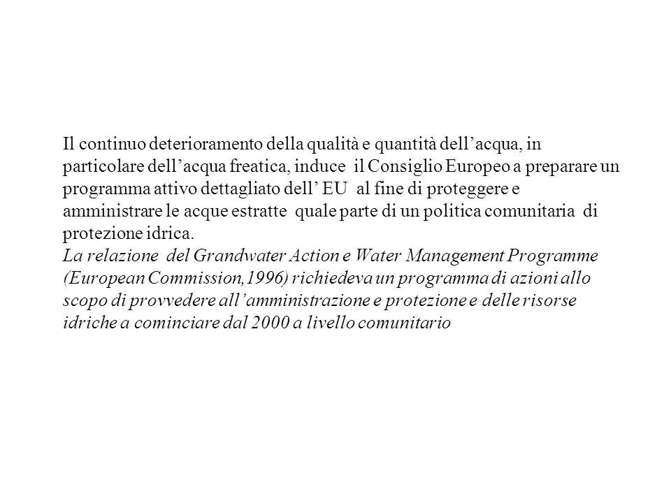 Il continuo deterioramento della qualità e quantità dellacqua, in particolare dellacqua freatica, induce il Consiglio Europeo a preparare un programma