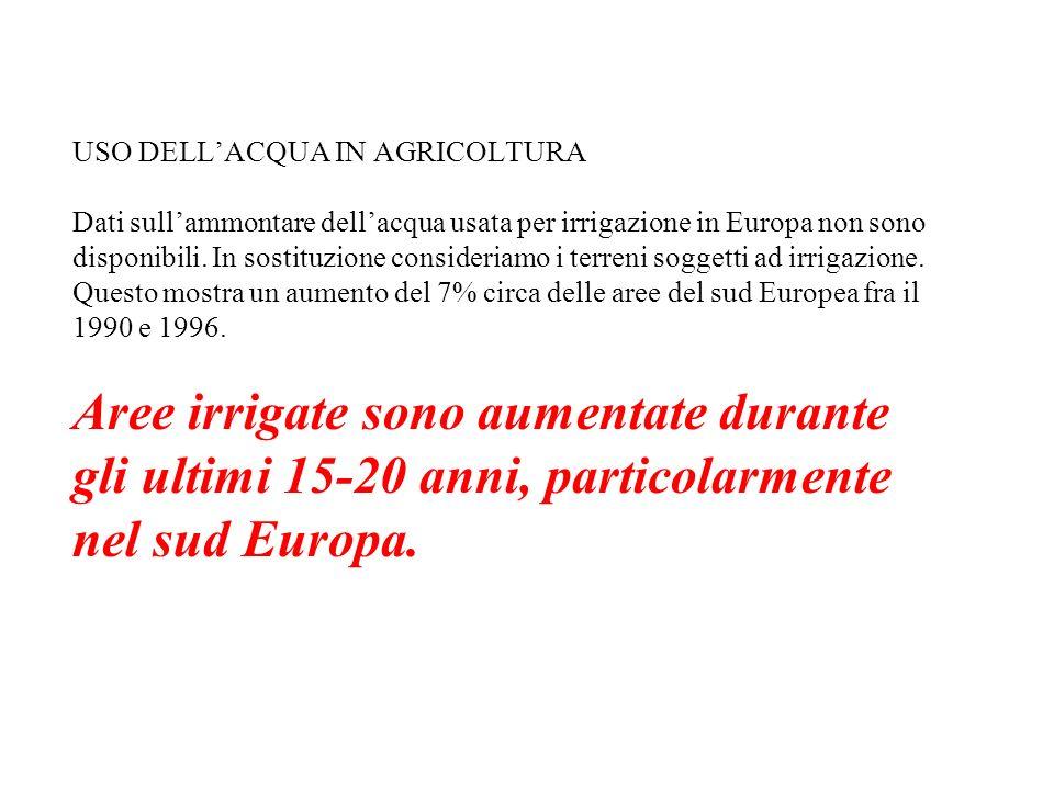 USO DELLACQUA IN AGRICOLTURA Dati sullammontare dellacqua usata per irrigazione in Europa non sono disponibili. In sostituzione consideriamo i terreni