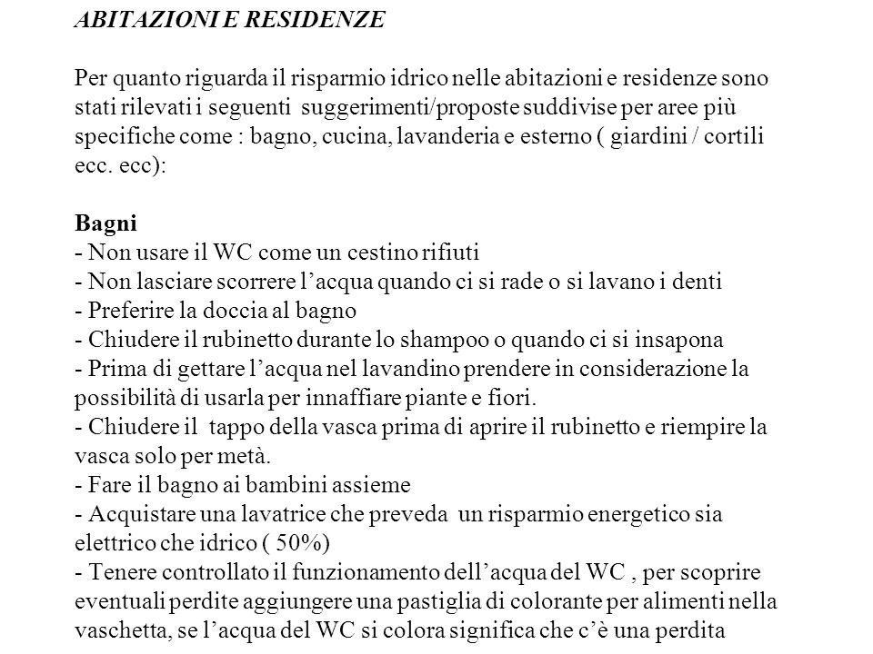 ABITAZIONI E RESIDENZE Per quanto riguarda il risparmio idrico nelle abitazioni e residenze sono stati rilevati i seguenti suggerimenti/proposte suddi