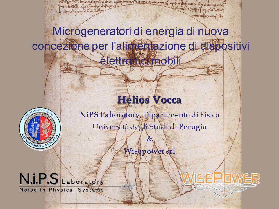 Microgeneratori di energia di nuova concezione per l'alimentazione di dispositivi elettronici mobili Helios Vocca NiPS Laboratory, Dipartimento di Fis