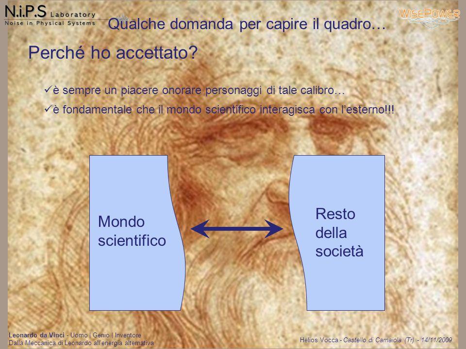 Helios Vocca - Castello di Carnaiola (Tr) - 14/11/2009 Leonardo da Vinci - Uomo | Genio | Inventore Dalla Meccanica di Leonardo allenergia alternativa