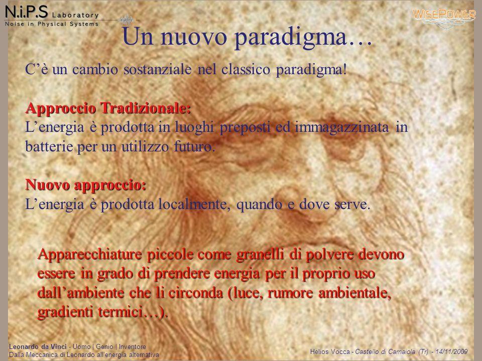 Helios Vocca - Castello di Carnaiola (Tr) - 14/11/2009 Leonardo da Vinci - Uomo   Genio   Inventore Dalla Meccanica di Leonardo allenergia alternativa Energy Harvesting
