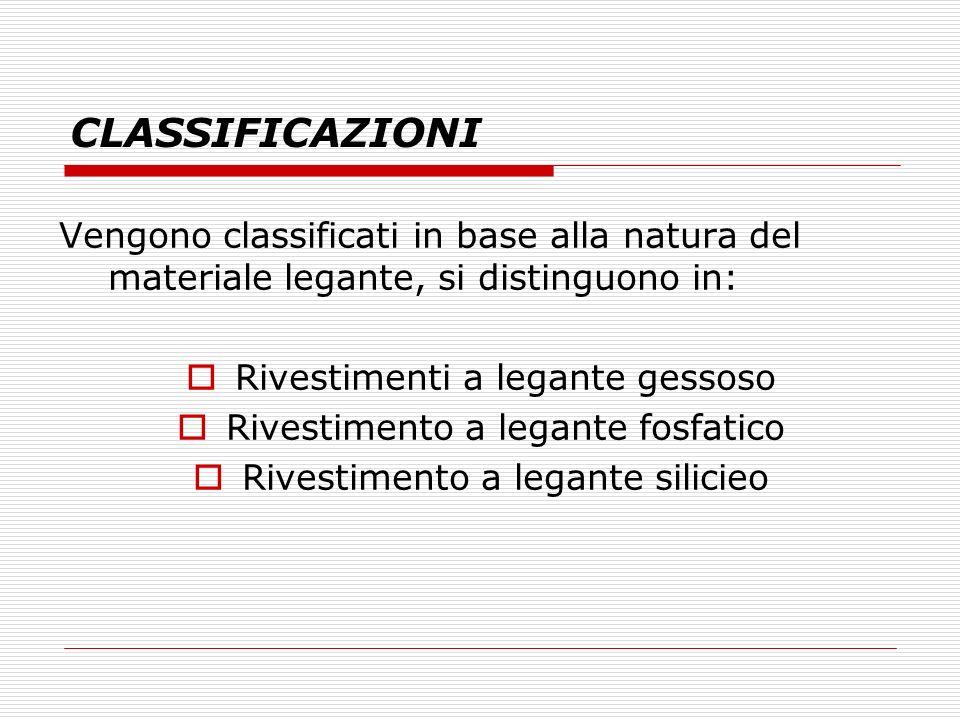 CLASSIFICAZIONI Vengono classificati in base alla natura del materiale legante, si distinguono in: Rivestimenti a legante gessoso Rivestimento a legan
