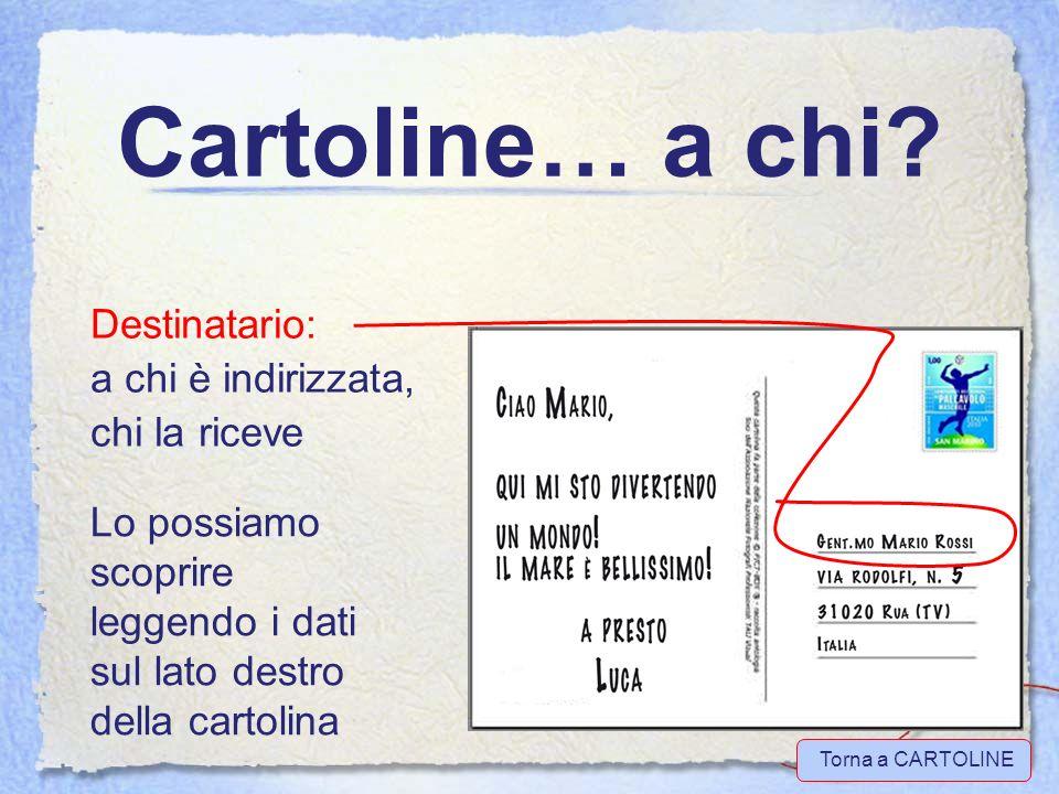 Cartoline… altri elementi Messaggio Indirizzo Francobollo Torna a CARTOLINE vai a ESERCITIAMOCI