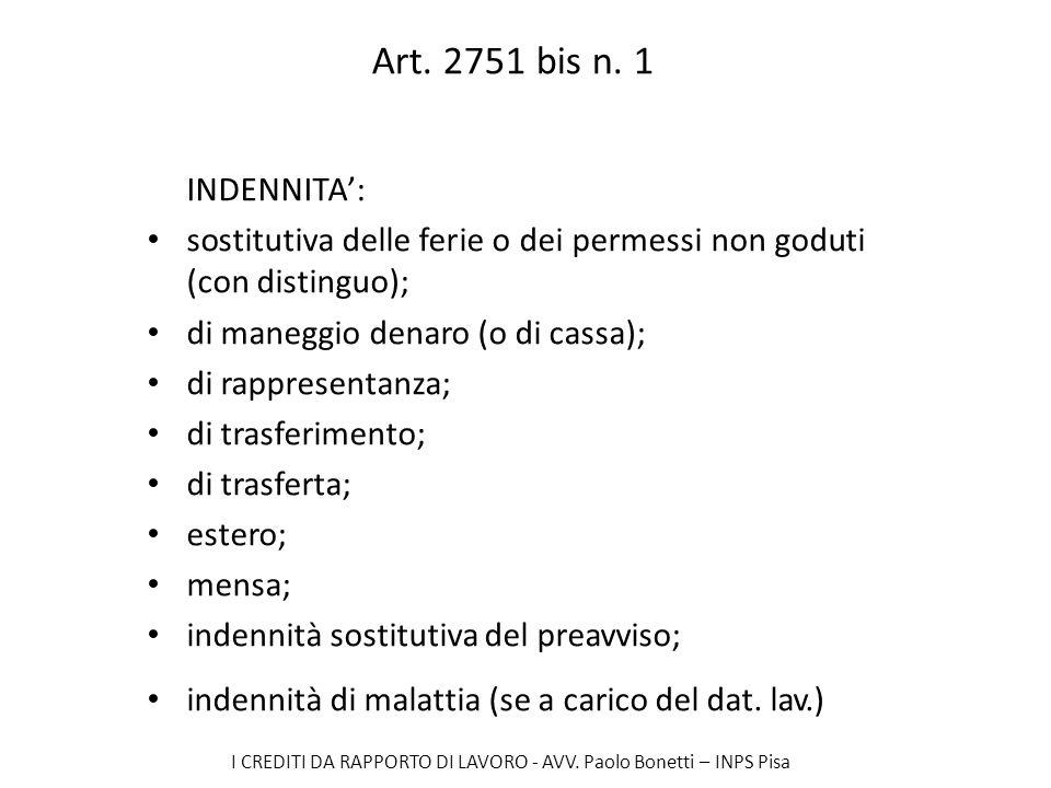 I CREDITI DA RAPPORTO DI LAVORO - AVV. Paolo Bonetti – INPS Pisa Art. 2751 bis n. 1 INDENNITA: sostitutiva delle ferie o dei permessi non goduti (con