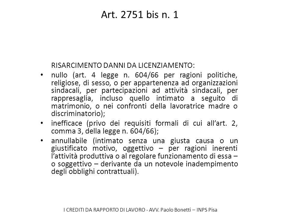 I CREDITI DA RAPPORTO DI LAVORO - AVV. Paolo Bonetti – INPS Pisa Art. 2751 bis n. 1 RISARCIMENTO DANNI DA LICENZIAMENTO: nullo (art. 4 legge n. 604/66