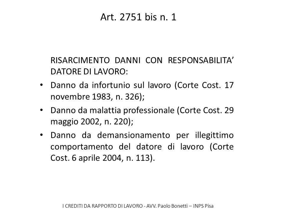 I CREDITI DA RAPPORTO DI LAVORO - AVV. Paolo Bonetti – INPS Pisa Art. 2751 bis n. 1 RISARCIMENTO DANNI CON RESPONSABILITA DATORE DI LAVORO: Danno da i