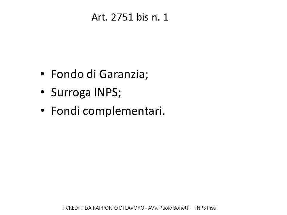 I CREDITI DA RAPPORTO DI LAVORO - AVV. Paolo Bonetti – INPS Pisa Art. 2751 bis n. 1 Fondo di Garanzia; Surroga INPS; Fondi complementari.