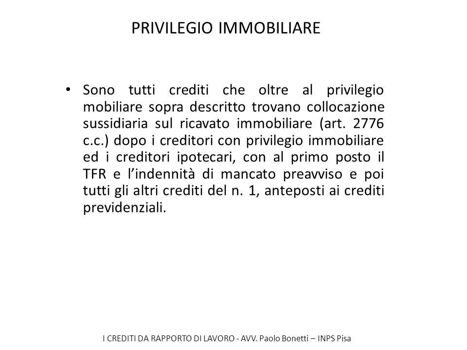 I CREDITI DA RAPPORTO DI LAVORO - AVV. Paolo Bonetti – INPS Pisa PRIVILEGIO IMMOBILIARE Sono tutti crediti che oltre al privilegio mobiliare sopra des