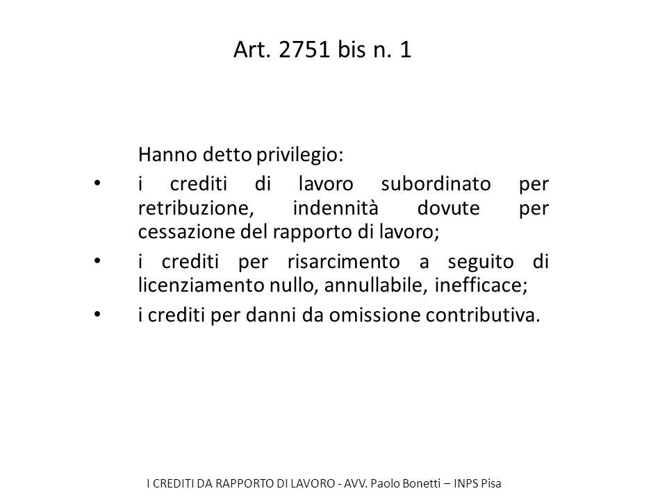 I CREDITI DA RAPPORTO DI LAVORO - AVV. Paolo Bonetti – INPS Pisa Art. 2751 bis n. 1 Hanno detto privilegio: i crediti di lavoro subordinato per retrib