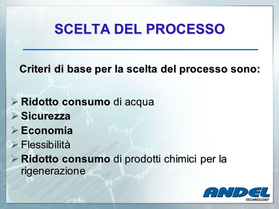 SCELTA DEL PROCESSO Criteri di base per la scelta del processo sono: Ridotto consumo di acqua Ridotto consumo di acqua Sicurezza Sicurezza Economia Ec
