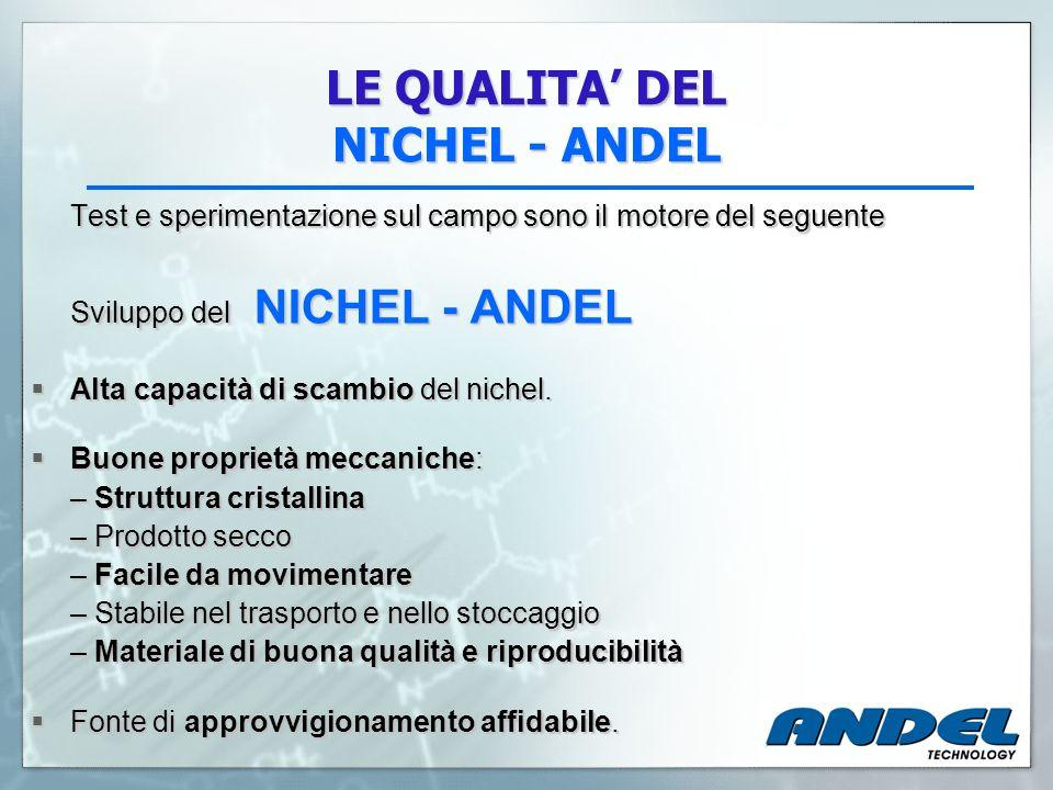 LE QUALITA DEL NICHEL - ANDEL Test e sperimentazione sul campo sono il motore del seguente Sviluppo del NICHEL - ANDEL Alta capacità di scambio del ni