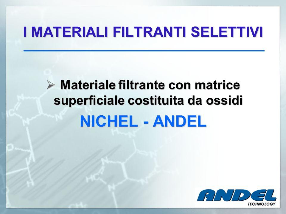 I MATERIALI FILTRANTI SELETTIVI Materiale filtrante con matrice superficiale costituita da ossidi Materiale filtrante con matrice superficiale costitu