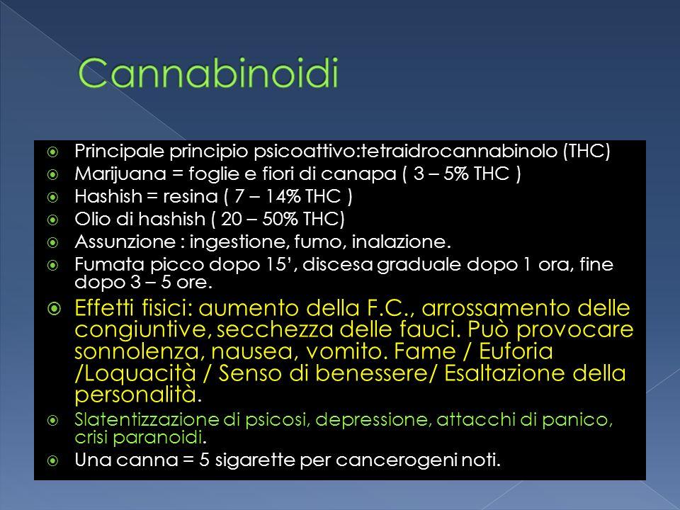 Principale principio psicoattivo:tetraidrocannabinolo (THC) Marijuana = foglie e fiori di canapa ( 3 – 5% THC ) Hashish = resina ( 7 – 14% THC ) Olio
