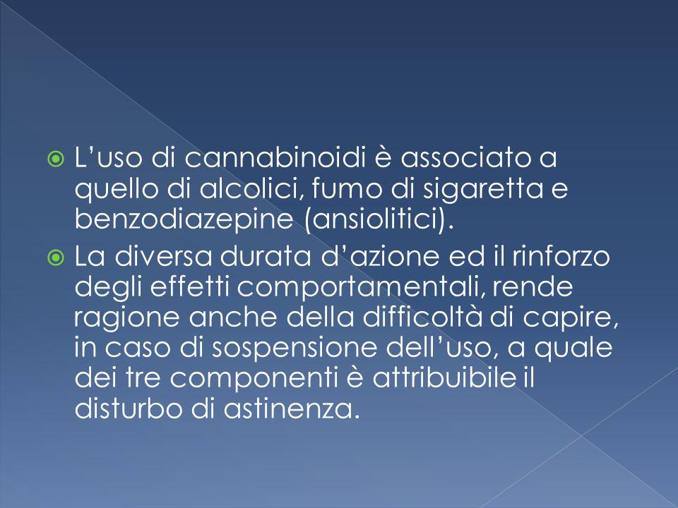 Luso di cannabinoidi è associato a quello di alcolici, fumo di sigaretta e benzodiazepine (ansiolitici). La diversa durata dazione ed il rinforzo degl