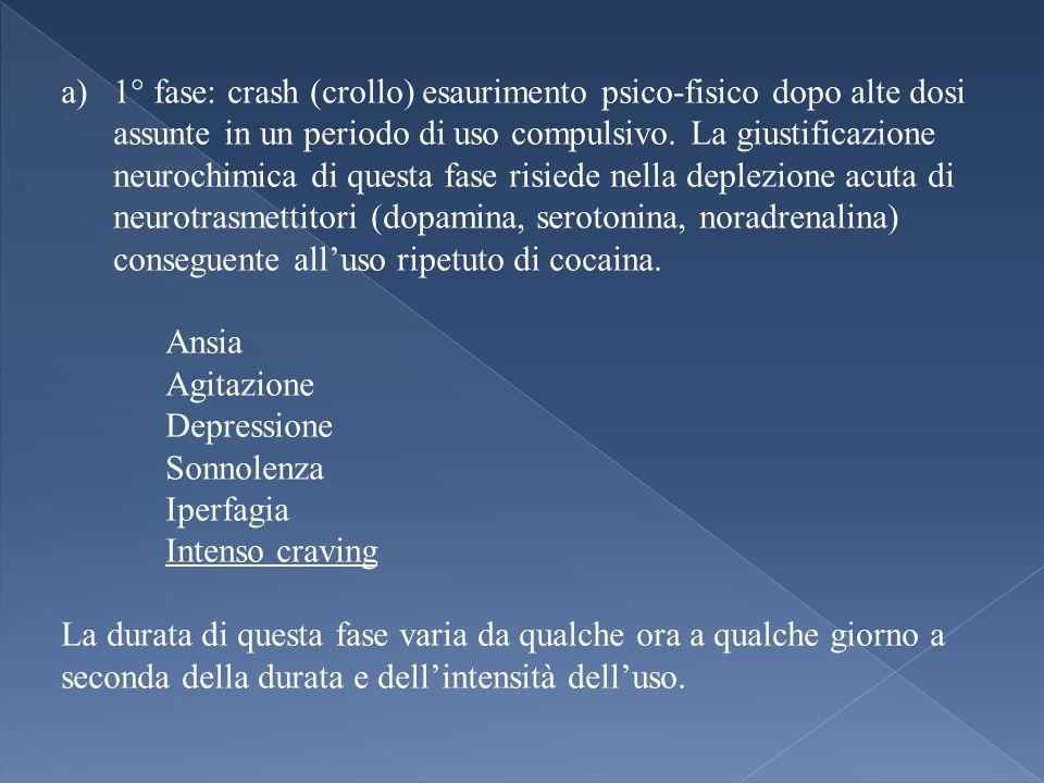 a)1° fase: crash (crollo) esaurimento psico-fisico dopo alte dosi assunte in un periodo di uso compulsivo. La giustificazione neurochimica di questa f