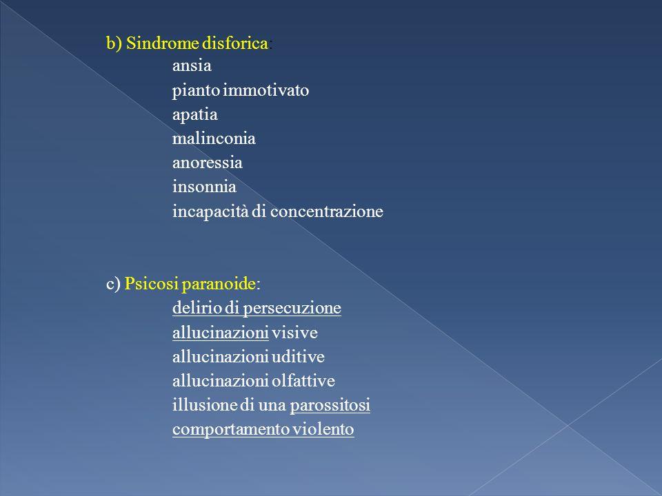 b) Sindrome disforica: ansia pianto immotivato apatia malinconia anoressia insonnia incapacità di concentrazione c) Psicosi paranoide: delirio di pers