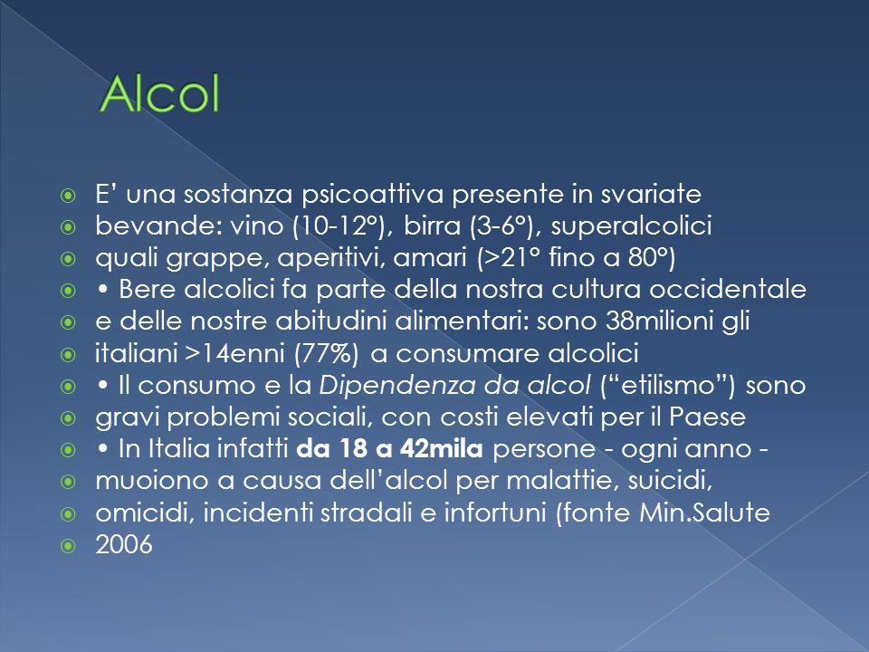 E una sostanza psicoattiva presente in svariate bevande: vino (10-12°), birra (3-6°), superalcolici quali grappe, aperitivi, amari (>21° fino a 80°) B