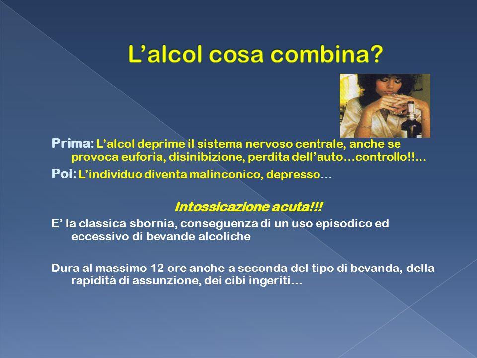 Prima: Lalcol deprime il sistema nervoso centrale, anche se provoca euforia, disinibizione, perdita dellauto…controllo!!... Poi: Lindividuo diventa ma