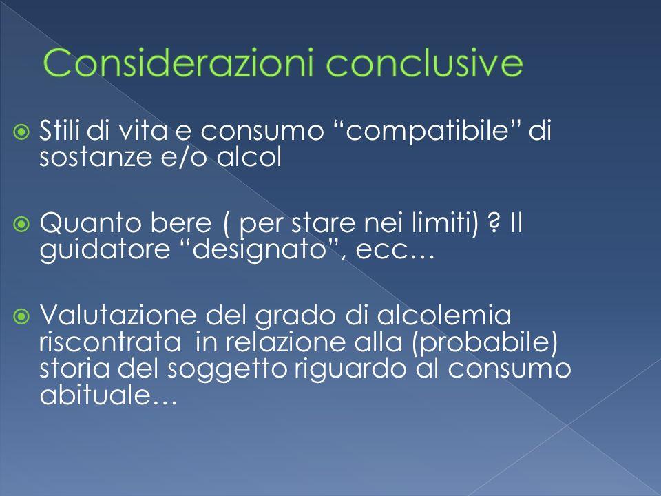 Stili di vita e consumo compatibile di sostanze e/o alcol Quanto bere ( per stare nei limiti) ? Il guidatore designato, ecc… Valutazione del grado di