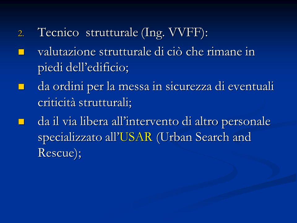 2. Tecnico strutturale (Ing. VVFF): valutazione strutturale di ciò che rimane in piedi delledificio; valutazione strutturale di ciò che rimane in pied