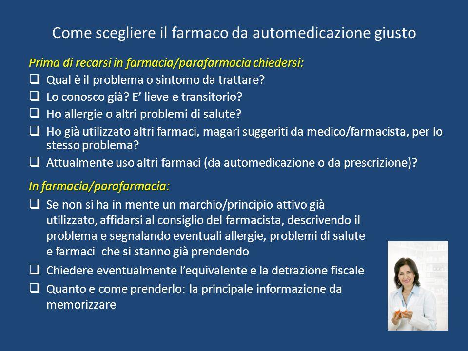 Come scegliere il farmaco da automedicazione giusto Prima di recarsi in farmacia/parafarmacia chiedersi: Qual è il problema o sintomo da trattare.
