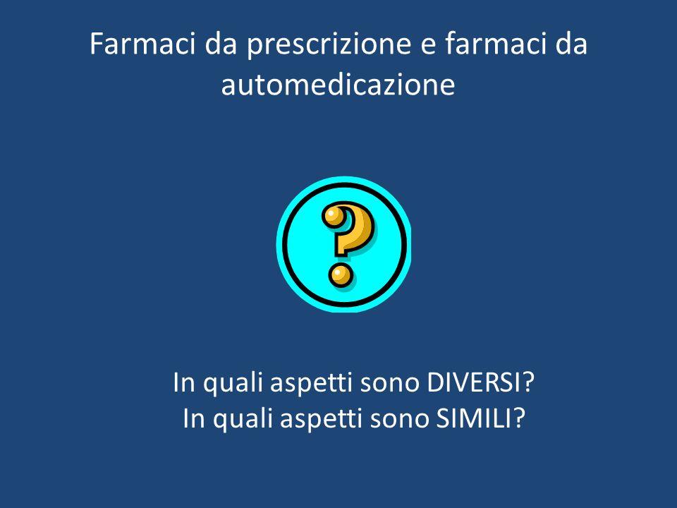 Farmaci da prescrizione e farmaci da automedicazione In quali aspetti sono DIVERSI.