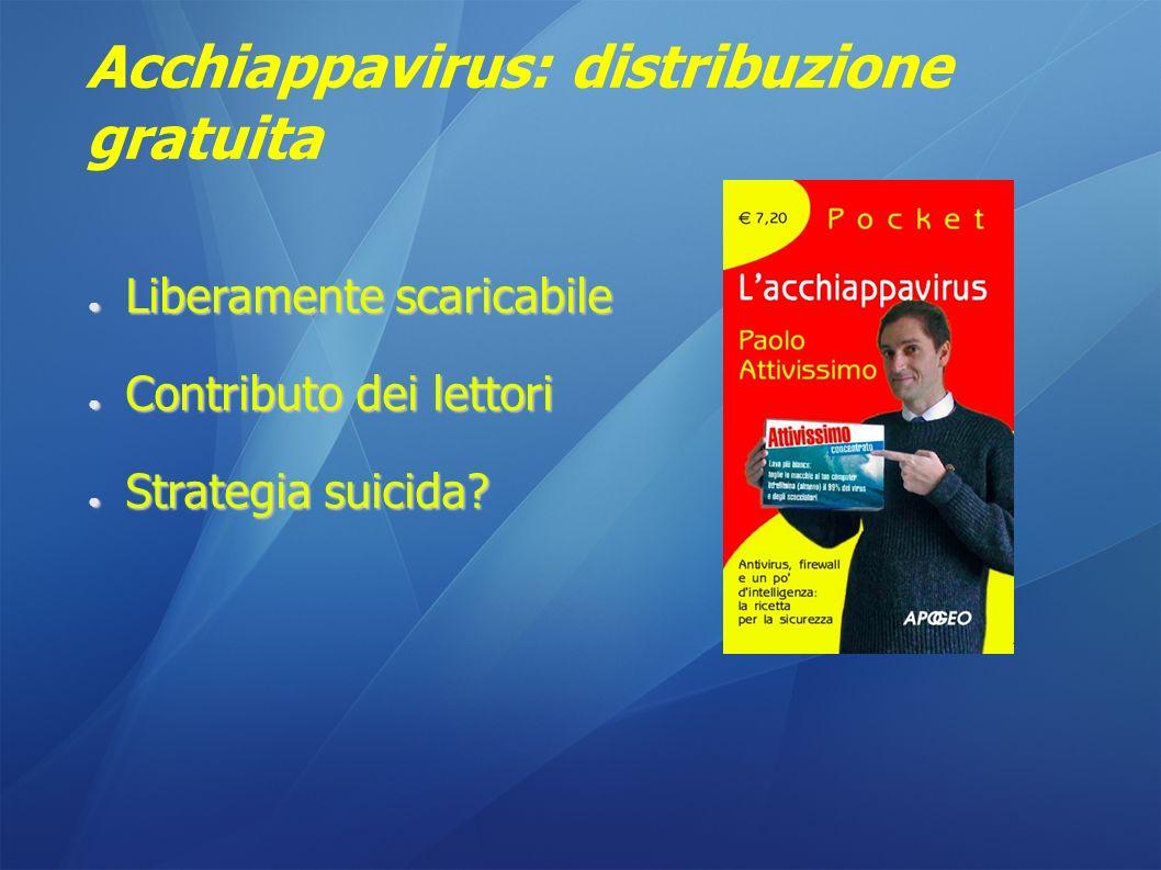 Acchiappavirus: distribuzione gratuita Liberamente scaricabile Liberamente scaricabile Contributo dei lettori Contributo dei lettori Strategia suicida.