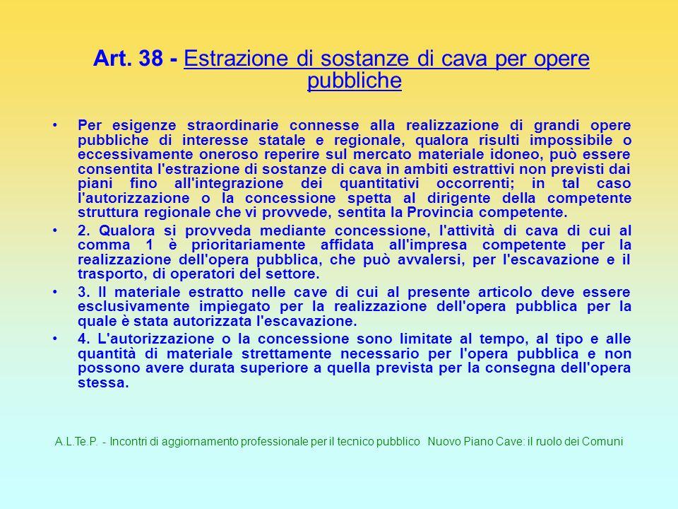 A.L.Te.P. - Incontri di aggiornamento professionale per il tecnico pubblico Nuovo Piano Cave: il ruolo dei Comuni Art. 38 - Estrazione di sostanze di