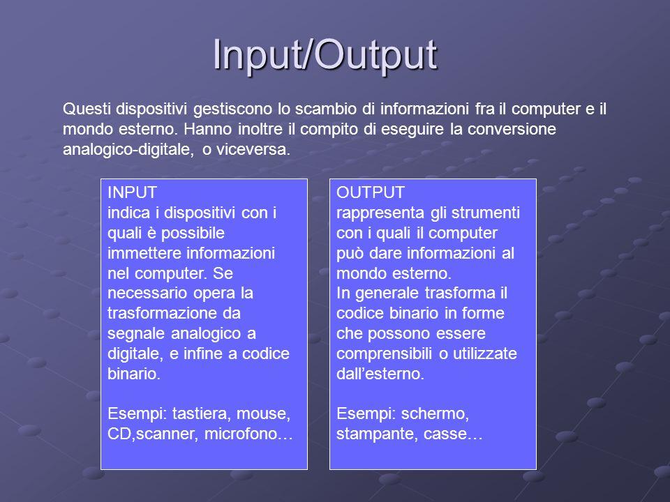 Input/Output Questi dispositivi gestiscono lo scambio di informazioni fra il computer e il mondo esterno. Hanno inoltre il compito di eseguire la conv