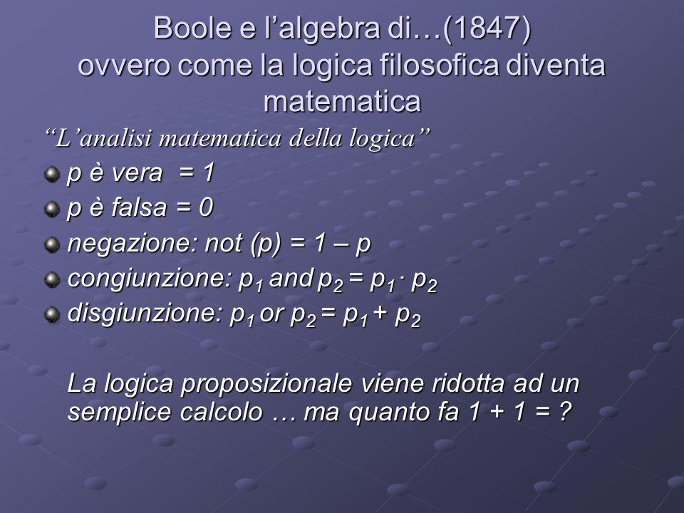 Boole e lalgebra di…(1847) ovvero come la logica filosofica diventa matematica Lanalisi matematica della logica p è vera = 1 p è falsa = 0 negazione: