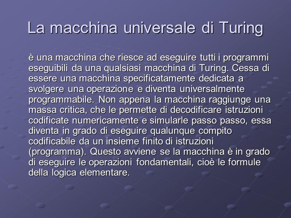 La macchina universale di Turing è una macchina che riesce ad eseguire tutti i programmi eseguibili da una qualsiasi macchina di Turing. Cessa di esse
