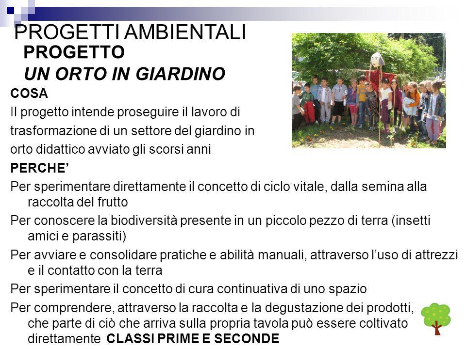 PROGETTI AMBIENTALI PROGETTO UN ORTO IN GIARDINO COSA Il progetto intende proseguire il lavoro di trasformazione di un settore del giardino in orto di