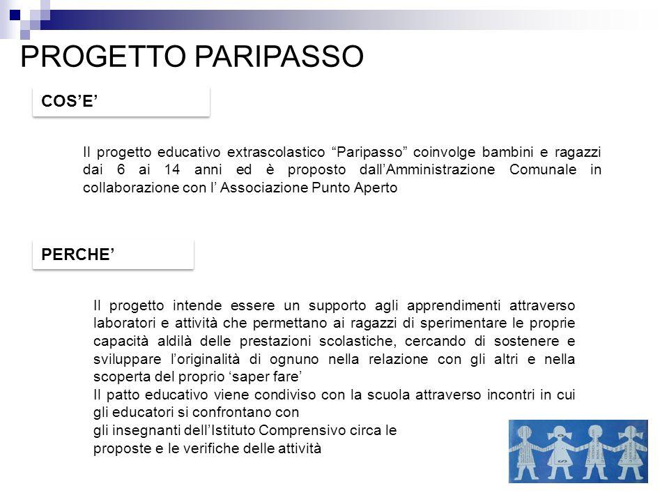PROGETTO PARIPASSO Il progetto educativo extrascolastico Paripasso coinvolge bambini e ragazzi dai 6 ai 14 anni ed è proposto dallAmministrazione Comu