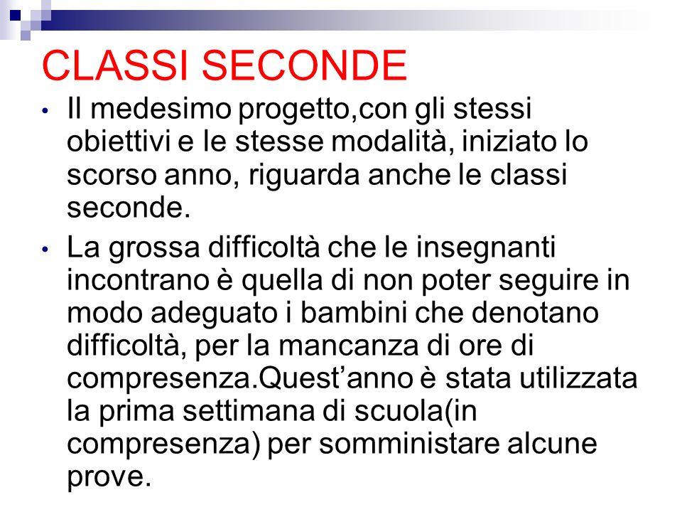 CLASSI SECONDE Il medesimo progetto,con gli stessi obiettivi e le stesse modalità, iniziato lo scorso anno, riguarda anche le classi seconde. La gross