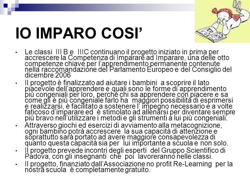 IO IMPARO COSI Le classi III B e IIIC continuano il progetto iniziato in prima per accrescere la Competenza di Imparare ad Imparare, una delle otto co