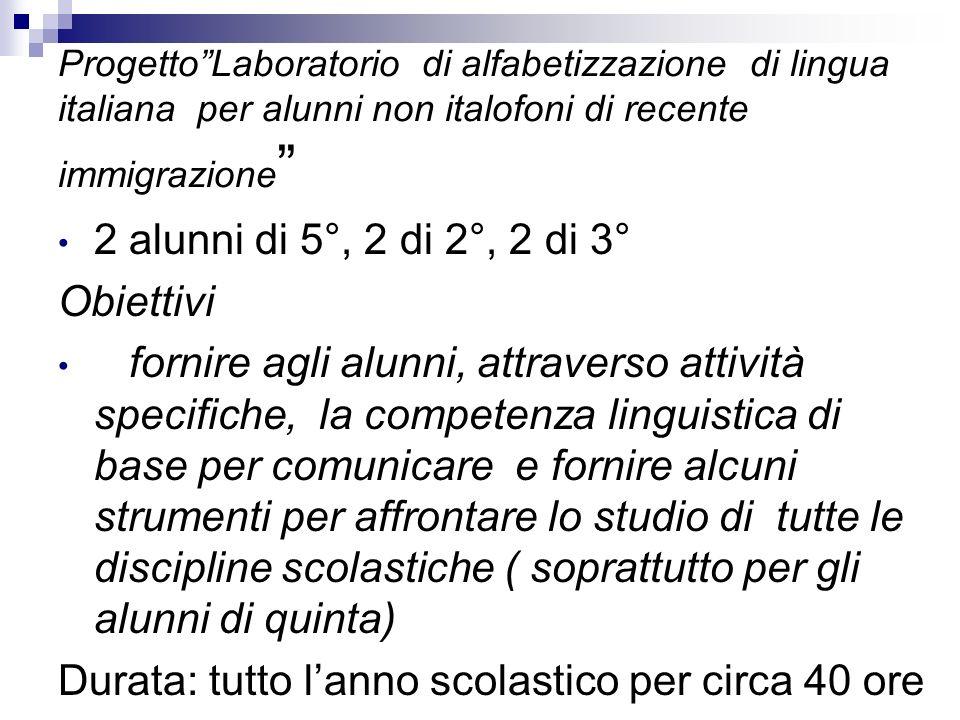 ProgettoLaboratorio di alfabetizzazione di lingua italiana per alunni non italofoni di recente immigrazione 2 alunni di 5°, 2 di 2°, 2 di 3° Obiettivi