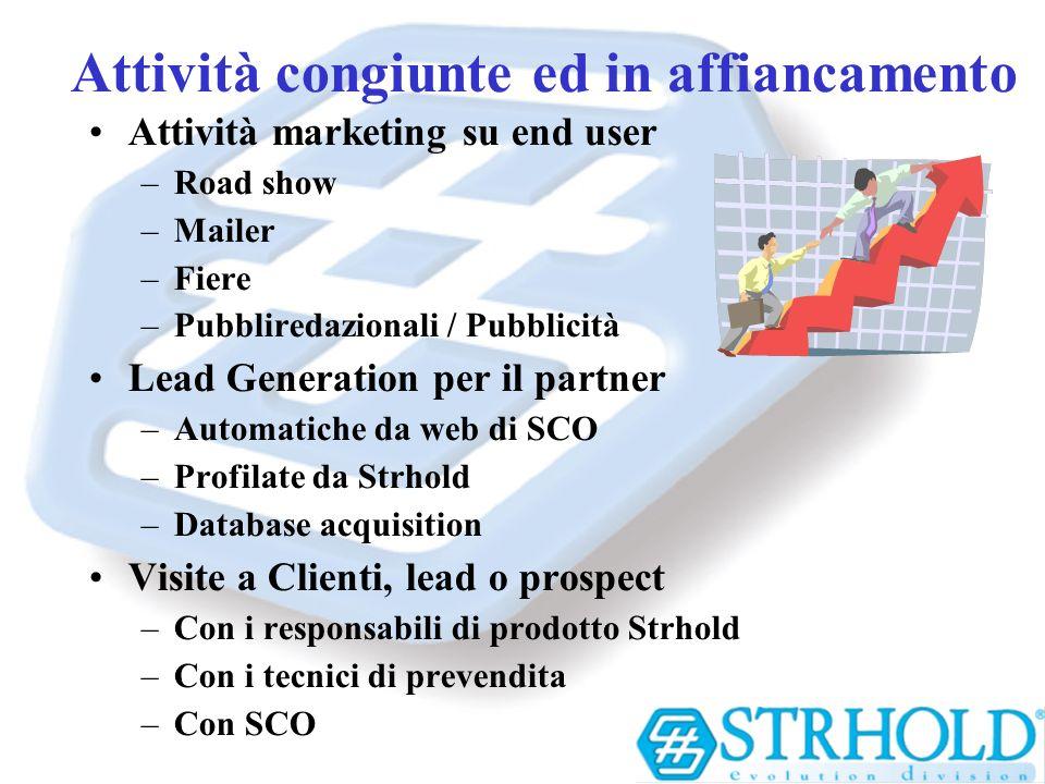 Attività congiunte ed in affiancamento Attività marketing su end user –Road show –Mailer –Fiere –Pubbliredazionali / Pubblicità Lead Generation per il