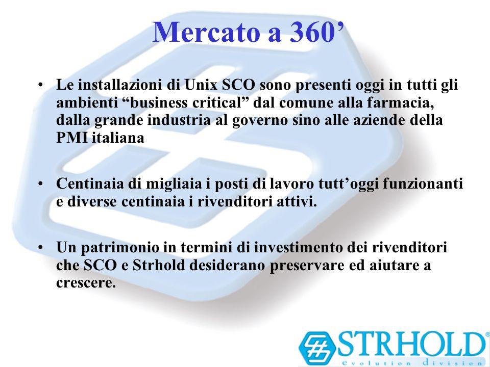 Mercato a 360 Le installazioni di Unix SCO sono presenti oggi in tutti gli ambienti business critical dal comune alla farmacia, dalla grande industria