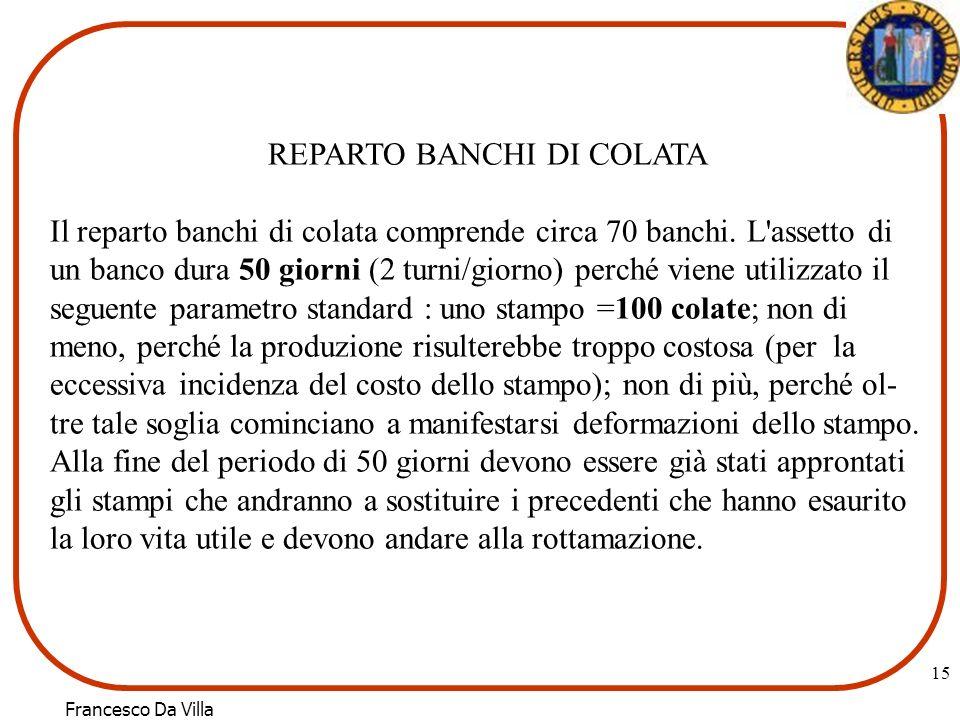 Francesco Da Villa 15 REPARTO BANCHI DI COLATA Il reparto banchi di colata comprende circa 70 banchi.