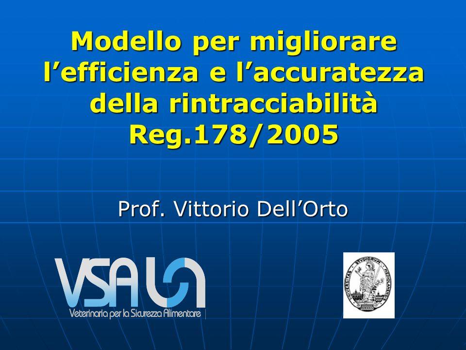 Modello per migliorare lefficienza e laccuratezza della rintracciabilità Reg.178/2005 Prof.