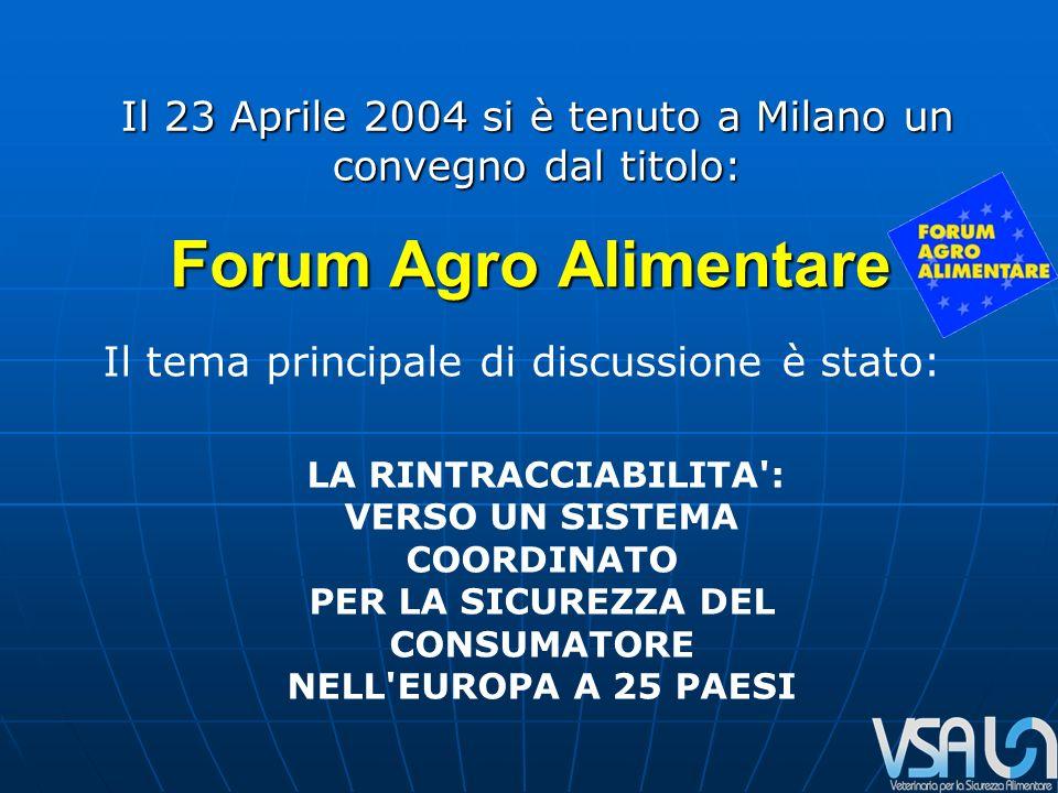 Forum Agro Alimentare Il tema principale di discussione è stato: LA RINTRACCIABILITA : VERSO UN SISTEMA COORDINATO PER LA SICUREZZA DEL CONSUMATORE NELL EUROPA A 25 PAESI Il 23 Aprile 2004 si è tenuto a Milano un convegno dal titolo: